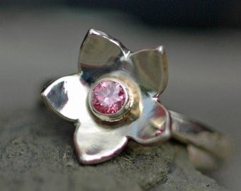 SALE: Pink Diamond in Recycled 14k White Gold Flower Ring- Ready to Ship
