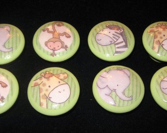 8 - ZOO ANIMALS - Light Green Drawer Knobs for Nursery, Kid's Rooms