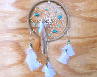 Tan and Turquoise Feathered Dreamcatcher