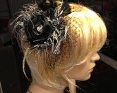 Black  rosette headband with french veiling fringe and  feathered accents wedding as well
