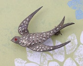 Victorian Swallow in flight brooch pin Marcasite & Silver safe return very old circa 1800s Antique VINTAGE