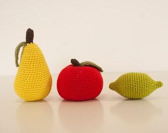 Crochet pattern fruit -  amigurumi apple lime pear pattern - Instant Download PDF by Bigunki
