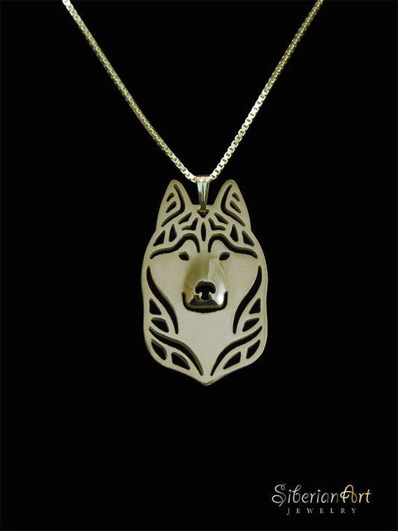 siberian husky jewelry - gold vermeil (18K gold plated sterling silver) pendant and necklace.