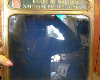 Vintage Brass Glass And Wood Nabisco National Biscuit Company Shadwo Box from Rustysecrets