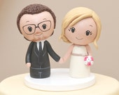 Topper for the month of April-Kokeshi Cake topper -- Wooden Bride and Groom -- Peg People Topper