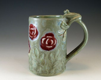 Stormy Blue Pottery Coffee Mug - Ceramic Red Rose Mug with butterflies and frog - 817
