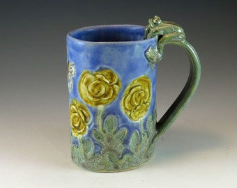Unique Handmade Lavender Blue Pottery Coffee Mug - Yellow Rose - Ceramic Cup with Butterflies Frog - by Botanic2Ceramic - 815