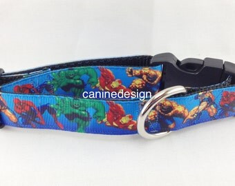 Dog Collar, Superheroes, 1 inch wide, adjustable, quick release, metal buckle, chain, martingale, hybrid, nylon
