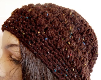 Crochet Slouchy Hat in Brown with Colored Flecks, Sized for Teens and Adults, Year Round Accessory