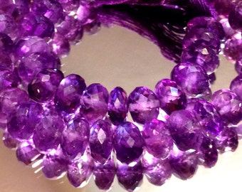 Royal Purple Amethyst Faceted Rondelles AAA 6 beads
