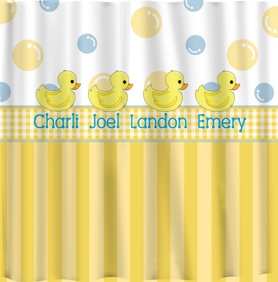 Yellow and blue shower curtain -  Zoom