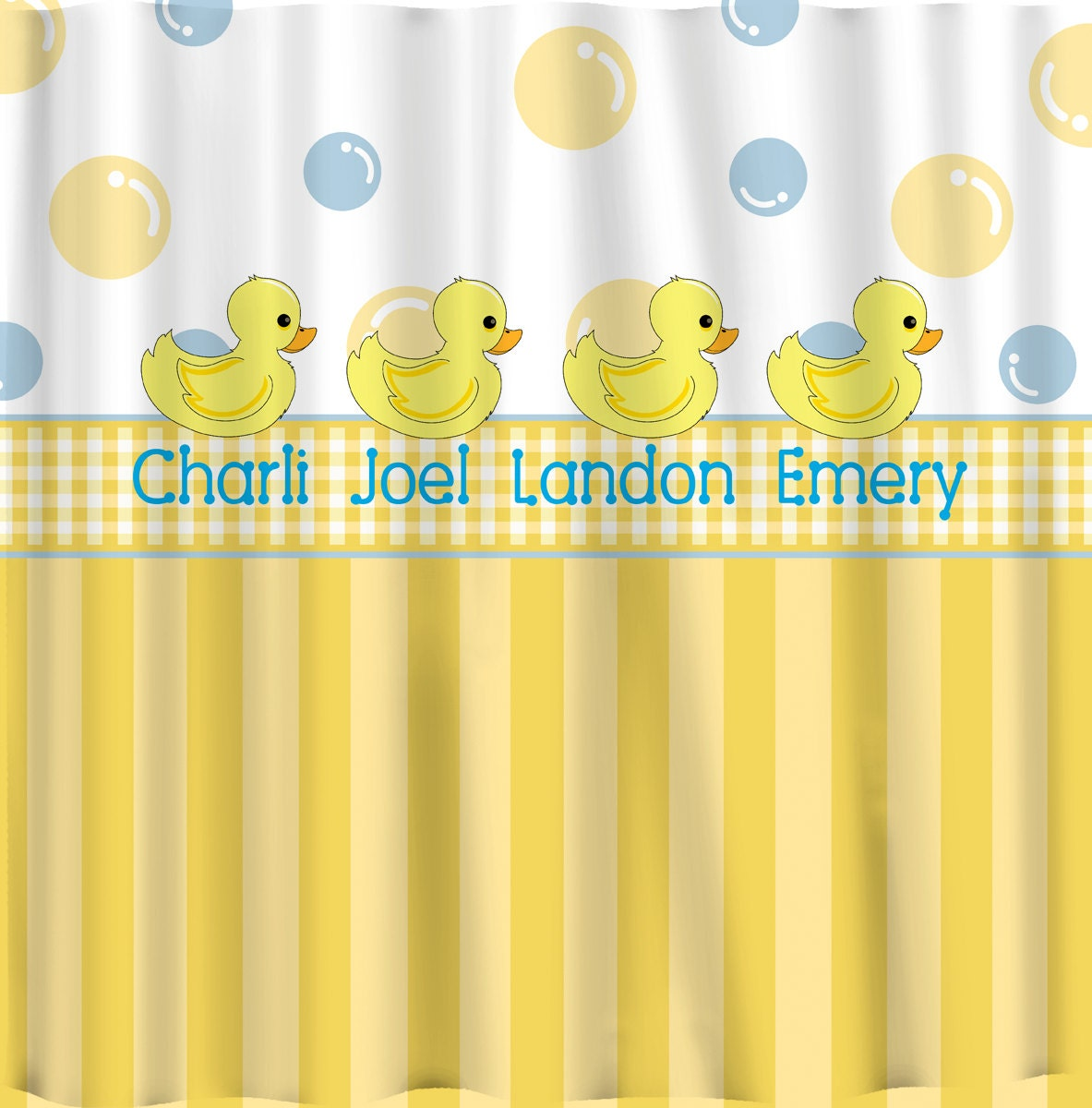 Personalized Rubber Duck Shower Curtains Yellow With Blue