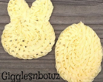 Set of 2 adorable Shabby Chic Chiffon EASTeR BuNNy and EaSTeR EGG appliques- YeLLoW 3x2.5 inch