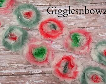 Shabby Rose Trim- TiE DYE shabby flowers 1 yard...Chiffon Flower...Shabby Chic- Watercolor