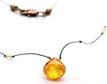 Bright Yellow Heart Shape Cubic Zircon Choker Necklace