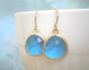 Royal Blue Earrings, Jewelry Sale, Gold Earrings, Bridal Jewelry, Mom Gift, Best Friend Birthday, Gifts Under 25