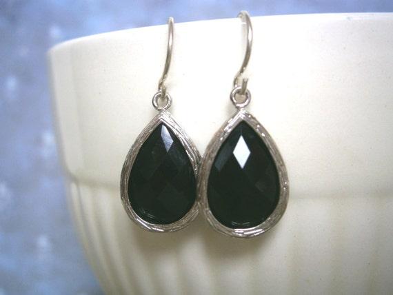 Black Earrings, Teardrop Earrings, Silver Earrings