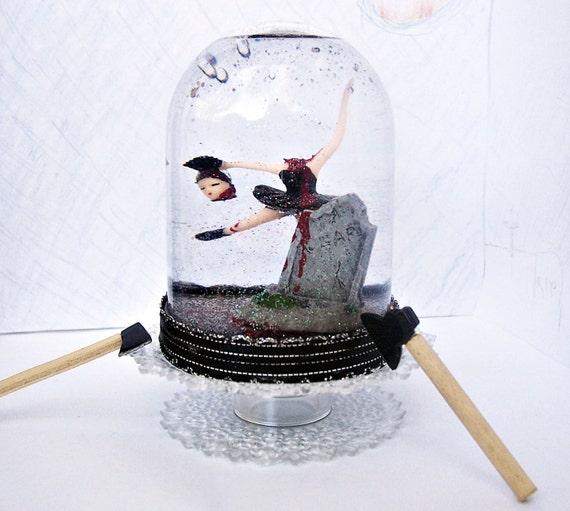 Headless Hatchet Ballerina Snow Globe