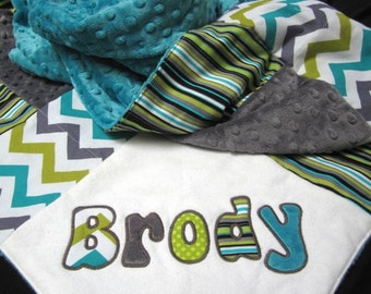 Personalized Children's Minky Quilt with Appliqué - Lagoon stripe, lime green teal gray, boy baby blanket, crib blanket, toddler patch quilt