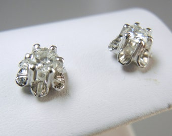 Vintage diamond earrings in 14k white gold / Genuine diamonds / Approx 1/2 carat TDW / pierced earrings, Round diamond studs / Flower / Mom