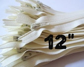12 Inch vanilla YKK zippers, TEN pcs, ivory, off white, YKK color 121, dress, pouch zippers, sewing supplies
