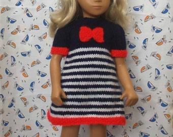 "Sasha 16"" 17"" Doll Nautical Bow Dress Knitting Pattern"