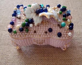 Vintage L & M Bond Ware Beaded Pink Porcelain Bejeweled Trinket Box