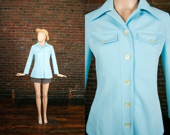 Vintage 60s 70s Mod Baby Blue Safari Top Spring Jacket  (S - M)
