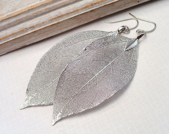 Real Aspen Leaf Earrings - Real Leaf Jewelry sterling Silver Dipped Earrings Long Earrings