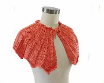 Coral Wedding Capelet - Hand Knit - Bridal Capelet
