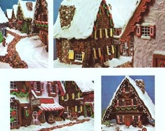 INSTANT DOWNLOAD PDF Vintage Recipe Craft  Pattern   Christmas Gingerbread Village  House Gingerbread Men