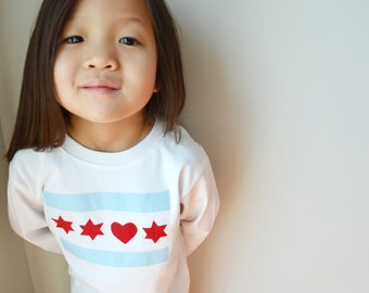I Heart Chicago Long sleeve kids unisex shirt onesie onezee children's tshirt chicago flag 0-3 months to 8 years old