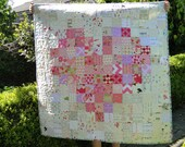 Ready to send - Bright Modern lap quilt / baby quilt - Pixelated Heart