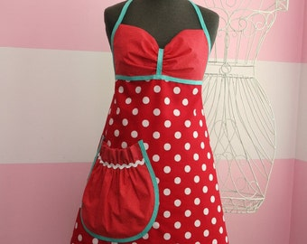 Women's Apron - Red & Teal Polka Dot