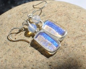 Clear glass earrings fused  with dichroic blue glass Free shipping