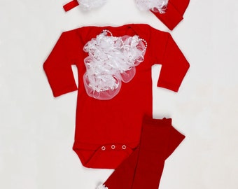 Red and White Christmas Layette Onesie Set Free Shipping