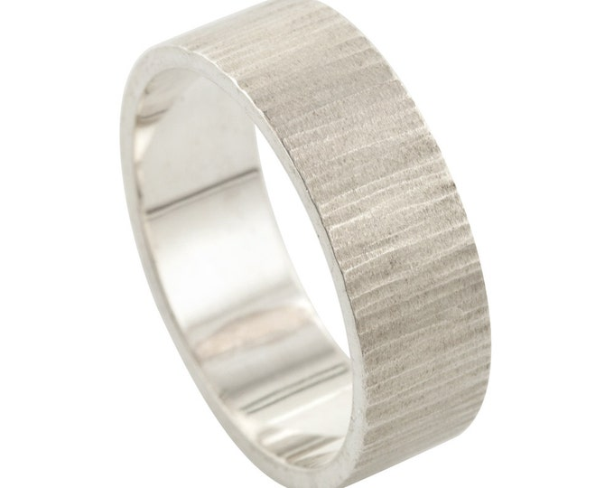 Men's Hammered Sterling Silver Wood Grain Wedding Ring made to order in your size