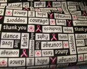 Breast Cancer Awareness Pink Ribbons and Words of Encouragement Fabric 100% Cotton Sold by Half Yard