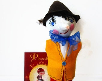 Pinocchio Hand Puppet  - Handmade Original Toy- Custom Made Puppet - Fairy Tale Character - Young Boy Puppet