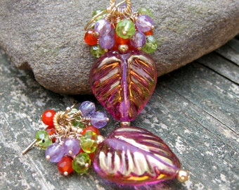 Leaf Earrings, Fall Earrings, Nature Jewelry, Gemstone Cluster Earrings, Woodland Jewelry Leaf Rustic Lampwork Purple Orange Green Earrings