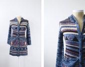 r e s e r v e d Blue Space Knit 1970s Long Cardigan - S/M