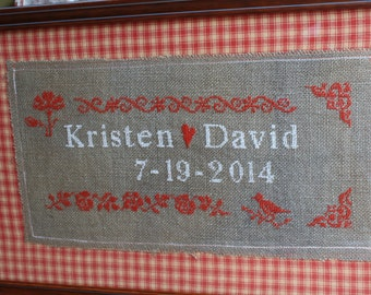 wedding personalized  gift anniversary  embroidery names date rustic custom