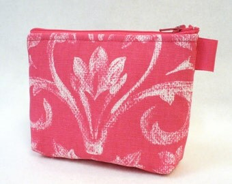 Hot Pink Floral Scroll Fabric Gadget Pouch Cosmetic Bag Zipper Pouch Makeup Bag Cotton Zip Pouch Pink White MTO