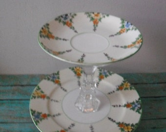 vintage Upcycled 2 tier Jewelry Stand ~~ Dessert Stand ~~ Petite Floral 2 teir pedestal server