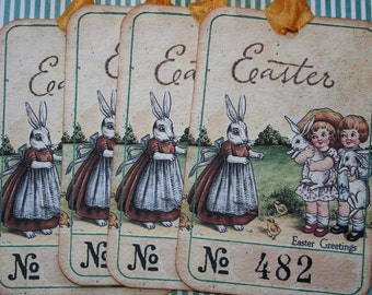 Easter ticket Tags, Mommy bunny! set of 4