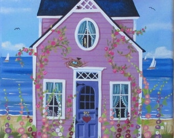 Hollyhock Cottage Folk Art Print