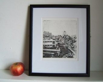 Leicester Skyline (Original Hand Pulled Collagraph Artists Print)