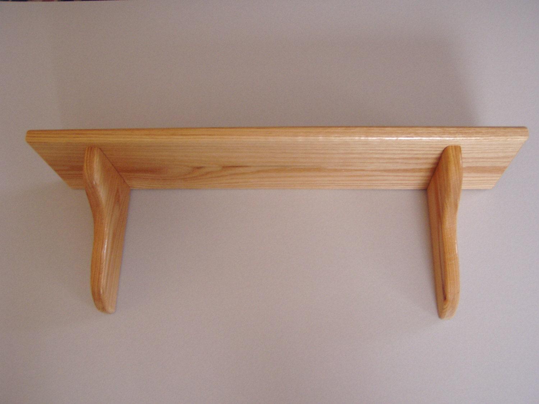 Wood Wall Shelf 24 Oak Bracket Wall Shelf 8 Deep