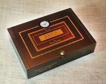 Gifts for him Valet / Desk Clock Cigar Box - No. 608.140