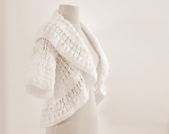 White Women's Sweater Cardigan Jacket Bridal Shrug Bolero